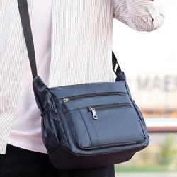 Men Nylon Waterproof Large Capacity Crossbody Bag Multi-functional Business Laptop Handbag