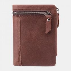 Men Genuine Leather RFID Blocking Anti-Theft Wallet Zipper Coin Wallet