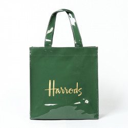 British Pvc Shopping  Bag Dark Green Gold Word Large Capacity Waterproof Shopping Bag Environmental Protection Bag Handbag