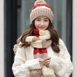 Woman Winter Hat   Therma Scarf Knittedl Cap Neck Woolen Hat S