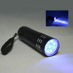 Black 9 Led Ultraviolet Torch  Light Aluminum Uv Flash Light V